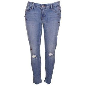 Levis Blue 535 Ripped Embellished Raw Hem Jeans
